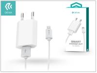 Univerzális USB hálózati töltő adapter  +  micro USB adatkábel 1 m es vezetékkel   5V 1A   Devia Smart Charger Suit   white eladó