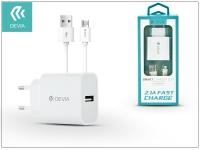 Devia Smart USB hálózati töltő adapter  +  micro USB kábel 1 m es vezetékkel   Devia Smart USB Fast Charge for Android   5V 2 1A   white eladó