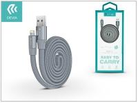 Apple iPhone 5 5S 5C SE iPad 4 iPad Mini USB töltő  és adatkábel 80 cm es vezetékkel   Devia Ring Y1 Lightning USB 2 4   grey eladó