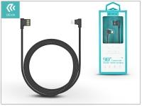 Apple iPhone 5 5S 5C SE iPad 4 iPad Mini USB töltő  és adatkábel 1 m es vezetékkel   Devia King 90 Double Angled Lightning USB 2 4   black eladó