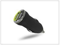 USB Dual micro szivargyújtó töltő adapter   5V 1A + 2 1A   fekete eladó