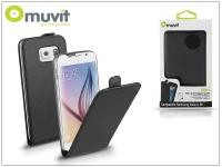 Samsung SM G920 Galaxy S6 flipes tok képernyővédő fóliával   Muvit Slim Flip   black eladó