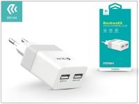 Univerzális USB hálózati töltő adapter 2 x USB   5V 2 4A   Devia Rockwall 2   white silver eladó