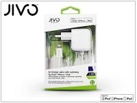 Apple iPhone 5 5S 5C SE iPad 4 iPad Mini Lightning hálózati töltő (Apple MFI engedélyes) 1 2 m es kábellel   JIVO   5V 2 1A   fehér eladó