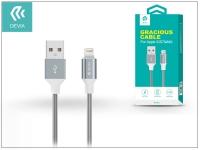 Apple iPhone 5 5S 5C SE iPad 4 iPad Mini USB töltő  és adatkábel   1 5 m es vezetékkel   Devia Gracious Lightning USB 2 4   grey eladó