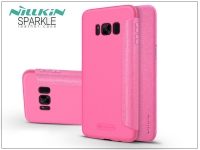 Samsung G955F Galaxy S8 Plus oldalra nyíló flipes tok   Nillkin Sparkle   pink eladó