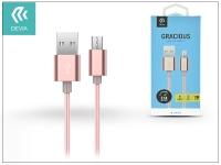 USB   micro USB adat  és töltőkábel 1 5 m es vezetékkel   Devia Gracious Cable for Android 2 1   rose gold eladó