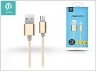 USB   micro USB adat  és töltőkábel 1 5 m es vezetékkel   Devia Gracious Cable for Android 2 1   gold eladó