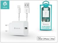 Apple iPhone 5 5S 5C SE 6S 6S Plus USB hálózati töltő adapter  +  lightning adatkábel (MFI)   5V 2 1A   Devia Smart Fast Charger Suit   white eladó