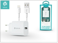 Apple iPhone 5 5S 5C SE 6S 6S Plus USB hálózati töltő adapter  +  lightning adatkábel   5V 2 1A   Devia Smart Fast Charger Suit   white eladó