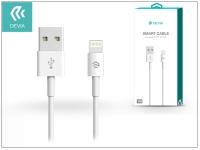 Apple iPhone 5 5S 5C SE iPad 4 iPad Mini USB töltő  és adatkábel 1 m es vezetékkel   Devia Smart Cable Lightning   white eladó