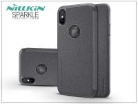 Apple iPhone X oldalra nyíló flipes tok   Nillkin Sparkle Logo   fekete eladó