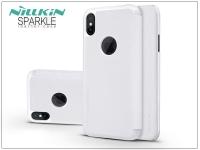 Apple iPhone X oldalra nyíló flipes tok   Nillkin Sparkle Logo   fehér eladó