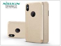 Apple iPhone X oldalra nyíló flipes tok   Nillkin Sparkle Logo   gold eladó