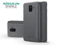 Samsung A600F Galaxy A6 (2018) oldalra nyíló flipes tok   Nillkin Sparkle   fekete eladó
