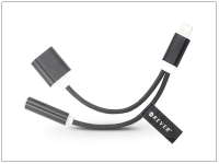 Lightning  +  USB adapter 3 5 mm jack füllhallgatóhoz   2in1   fekete eladó