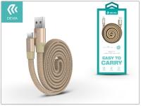 USB   USB Type C adat  és töltőkábel 80 cm es vezetékkel   Devia Ring Y1 USB Type C 2 4 Cable   gold eladó