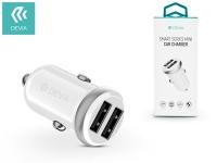 Devia Dual USB szivargyújtós töltő adapter   5V 1A 2 4A   Devia Smart Series Mini Car Charger   white eladó