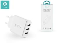 Devia univerzális USB hálózati töltő adapter 3 x USB   5V 3 4A   Devia Smart Series 3 USB Charger    white eladó