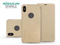 Apple iPhone XS Max oldalra nyíló flipes tok   Nillkin Sparkle Logo   gold eladó