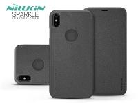 Apple iPhone XS Max oldalra nyíló flipes tok   Nillkin Sparkle Logo   fekete eladó