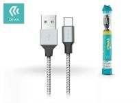 Devia USB töltő  és adatkábel 1 m es vezetékkel   Devia Tube for Type C USB 2 4A   silver black eladó