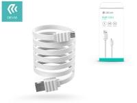 USB   micro USB adat  és töltőkábel 1 m es vezetékkel   Devia Flat Cable USB 2 0   white eladó
