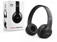 Univerzális Wireless Bluetooth sztereó fejhallgató beépített mikrofonnal   P47 Wireless Headphones   fekete eladó