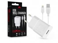 Maxlife USB hálózati töltő adapter  +  lightning adatkábel 1 m es vezetékkel   Maxlife MXTC 01 USB Wall Charger   5V 1A   fehér eladó